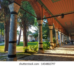 ISTANBUL, TURKEY - JUNE 7, 2019:  A view of the interior courtyard of Topkapi Palace. Topkapi Palace was the primary residence of Ottoman Sultans starting the 15th century.