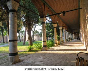 ISTANBUL, TURKEY - JUNE 7, 2019: Interior courtyard of Topkapi Palace in Istanbul, Turkey. Topkapi Palace served Ottoman sultans since the 15th century.