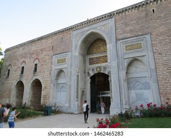 ISTANBUL, TURKEY - JUNE 7, 2019: One of the entrance gates of the Topkapi Palace. Topkapi Palace had served Ottoman Sultans starting the 15th century until about the 18th century.