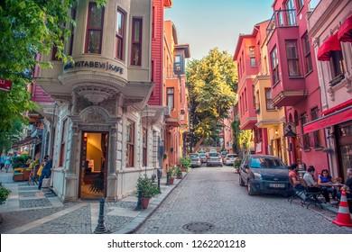 Istanbul, Turkey - June 8, 2018: Kuzguncuk, has the most beautiful houses of traditional Turkish architecture.