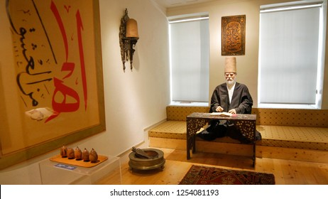 ISTANBUL, TURKEY, JUNE 9, 2012: Wax model of a Mevlevi dervish on display at Galata Mevlevihanesi, operates as a museum under the name of Galata Mevlevihanesi Museum.