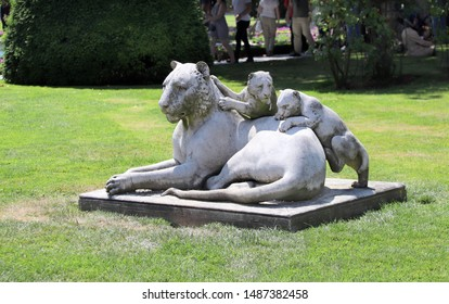 ISTANBUL, TURKEY - JUNE 9, 2019: Sculpture of a lioness with lion-cubs in garden of Dolmabahce Palace (Dolmabahce Sarayi)