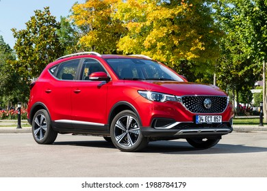 Istanbul, Turkey - June 9 2021 : MG ZS is a subcompact crossover SUV produced by SAIC Motor under the MG marque. An all electric version made its debut as ZS EV.