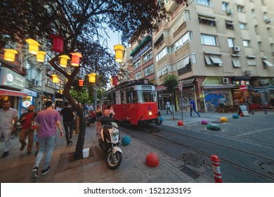 ISTANBUL, TURKEY : Kadikoy - Moda district. Old nostalgic tram going through the streets of Asian side of Istanbul on August 6, 2019