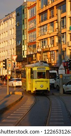 ISTANBUL, TURKEY: Kadikoy - Moda nostalgic tramway. It is used for touristic purposes as well as meeting the in-district transportation requirements of Moda and Kadikoy residents on November 2018