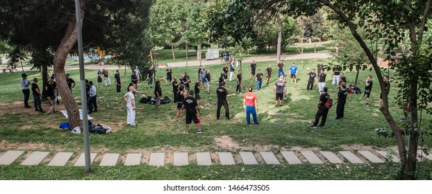 ISTANBUL, TURKEY - Maj 30 - Jun 02. 2019. Kapap instructor Fabian Garcia from Argentina, demonstrates escrima stick fighting to large group of students on GENERAL MEETING OF KAPAP INSTRUCTORS