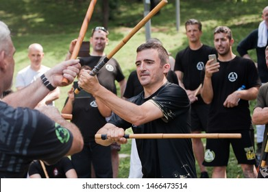 ISTANBUL, TURKEY - Maj 30 - Jun 02. 2019. Kapap instructor Fabian Garcia from Argentina, demonstrates Filipino escrima two hands two stick fighting techniques on GENERAL MEETING OF KAPAP INSTRUCTOR
