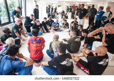 ISTANBUL, TURKEY - Maj 30 - Jun 02. 2019. Kapap instructor Fabian Garcia from Argentina with large group of his students on GENERAL MEETING OF KAPAP INSTRUCTOR