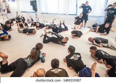 ISTANBUL, TURKEY - Maj 30 - Jun 02. 2019. Kapap instructor Ken Akiyama, demonstrates escrima stick fighting to large group of students on GENERAL MEETING OF KAPAP INSTRUCTORS