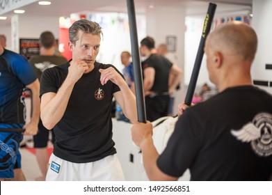 ISTANBUL, TURKEY - Maj 30 - Jun 02. 2019. Group of martial arts students practice filipino escrima stick fighting training on GENERAL MEETING OF KAPAP INSTRUCTORS