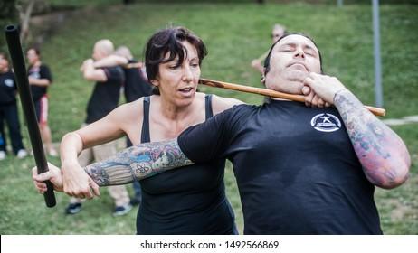 ISTANBUL, TURKEY - Maj 30 - Jun 02. 2019. Group of International martial arts students practice filipino escrima stick fighting on GENERAL MEETING OF KAPAP INSTRUCTORS. Outdoor training