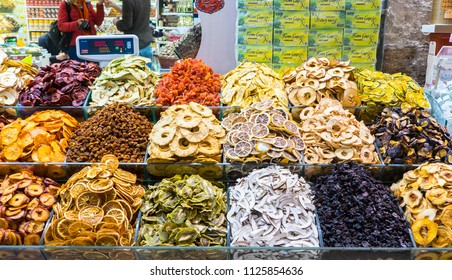 Istanbul, Turkey - Mar 10, 2018: Turkish delight, also known as lokum, sold in the famous Spaice Bazaar in Istanbul.