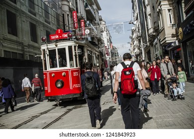 ISTANBUL, TURKEY - MAR 27, 2014: Nostalgic red tram in istiklal street, Beyoglu