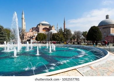 Istanbul, Turkey - Mar 9, 2018 : Ayasofya or Hagia Sophia  From the date of its construction in 537 AD until 1453 it served as a Greek Orthodox later an imperial mosque, and is now a museum.