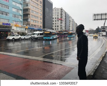 Istanbul, Turkey March 02,2019: A general view from Mecidiyekoy square. Mecidiyeköy is a neighbourhood located in the Sisli district of Istanbul, Turkey