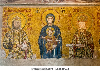 ISTANBUL, TURKEY - MARCH 03: The Virgin Mary and Jesus Christ as a child, a Byzantine mosaic in the interior of Hagia Sophia, on March 03, 2013 in Istanbul.