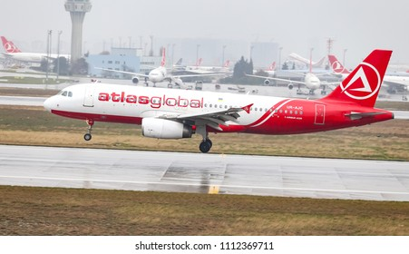 ISTANBUL, TURKEY - MARCH 04, 2018: AtlasGlobal Ukraine Airbus A320-232 (CN 1663) landing to Istanbul Ataturk Airport. AtlasGlobal Ukraine has 2 fleet size and 6 destinations