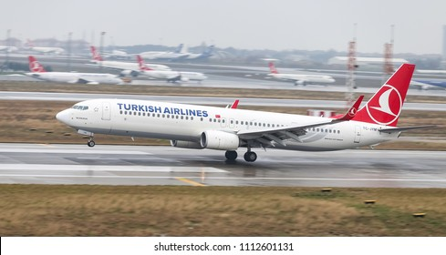 ISTANBUL, TURKEY - MARCH 04, 2018: Turkish Airlines Boeing 737-9F2ER (CN 42011) landing to Istanbul Ataturk Airport. THY is the flag carrier of Turkey with 328 fleet size and 302 destinations
