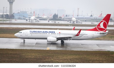 ISTANBUL, TURKEY - MARCH 04, 2018: Turkish Airlines Boeing 737-8F2 (CN 60029) landing to Istanbul Ataturk Airport. THY is the flag carrier of Turkey with 328 fleet size and 302 destinations