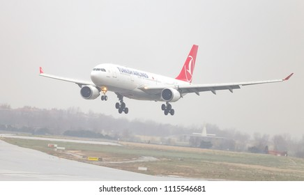 ISTANBUL, TURKEY - MARCH 04, 2018: Turkish Airlines Airbus A330-202 (CN 932) landing to Istanbul Ataturk Airport. THY is the flag carrier of Turkey with 328 fleet size and 302 destinations