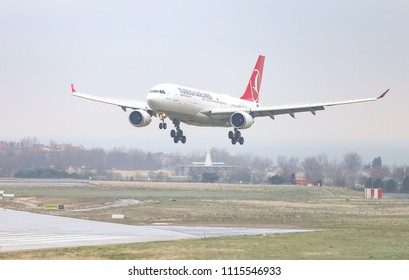 ISTANBUL, TURKEY - MARCH 04, 2018: Turkish Airlines Airbus A330-203 (CN 754) landing to Istanbul Ataturk Airport. THY is the flag carrier of Turkey with 328 fleet size and 302 destinations