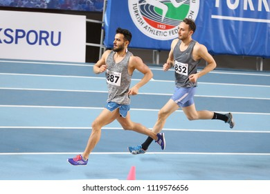 ISTANBUL, TURKEY - MARCH 04, 2018: Athletes running during Turkish Athletics Indoor Competitions
