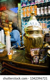 Istanbul, Turkey, March 07, 2019: salep machine in store, making and selling salep milky hot drink is a typical drink from Greece and Turkey made of hibiscus flower in Egyptian Bazaar or Spice Bazaar