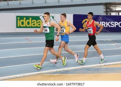 ISTANBUL, TURKEY - MARCH 07, 2020: Athletes race walking during International U18 Indoor Athletic Match