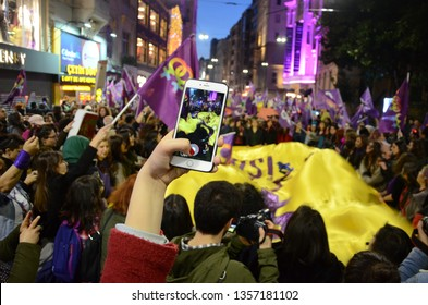 ISTANBUL, TURKEY March 08, 2019: After women announced that they would gather in front Taksim, 17th Feminist Night March, the police closed all roads leading to the İstiklal Avenue.