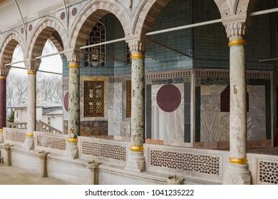 ISTANBUL, TURKEY - MARCH 1, 2018: Mosaic wall decor in Topkapi Palace in Istanbul, Turkey