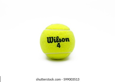 Istanbul, Turkey - March 10, 2017: Wilson brand tennis ball isolated on white. The Wilson Sporting Goods Company is an American sports equipment manufacturer based in Chicago, Illinois since 1989.