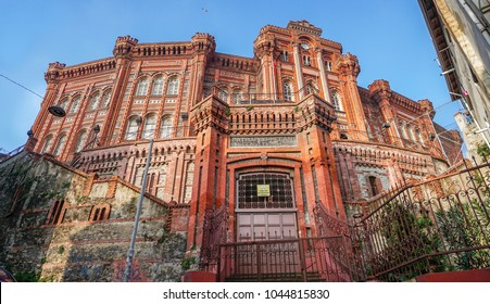 ISTANBUL, TURKEY - MARCH 10, 2018: Exterior view of the Phanar Greek Orthodox Collage in Balat, the oldest surviving and most prestigious Greek Orthodox school in Istanbul.