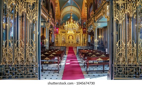 ISTANBUL, TURKEY - MARCH 10, 2018: Interior detail from Bulgarian St. Stephen Church, an orthodox church in Balat, famous for being made of prefabricated cast iron elements in the neo-gothic style.
