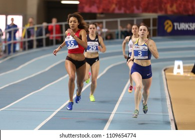 ISTANBUL, TURKEY - MARCH 10, 2018: Athletes running during International U18 Indoor Athletic Match