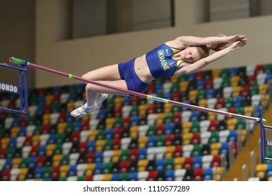 ISTANBUL, TURKEY - MARCH 10, 2018: Undefined athlete pole vaulting during International U18 Indoor Athletic Match