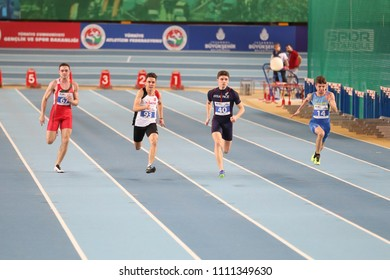 ISTANBUL, TURKEY - MARCH 10, 2018: Athletes running 60 metres during International U18 Indoor Athletic Match