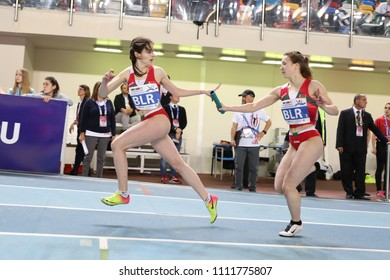ISTANBUL, TURKEY - MARCH 10, 2018: Athletes running 4x400 metres during International U18 Indoor Athletic Match
