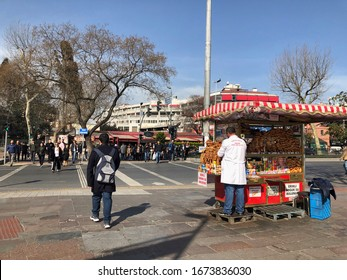 Istanbul, Turkey - March 11, 2020; A vendor selling Turkish bagel at street in Besiktas region of Istanbul in Turkey