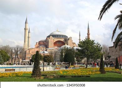 Istanbul, Turkey – March 12, 2015. Hagia Sophia mosque ( Ayasofya ) exterior.