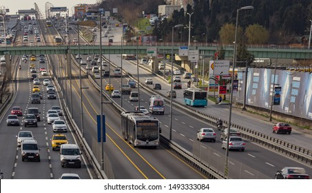 Istanbul / Turkey - March 13 2019: A modern Mercedes metrobus on the highway. Istanbul public transport, vehicle called Metrobus goes own way with non traffic.