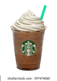 ISTANBUL, TURKEY - March 15, 2016: Cup of Starbucks Frappuccino on white background. Starbucks is the World's largest coffee house.