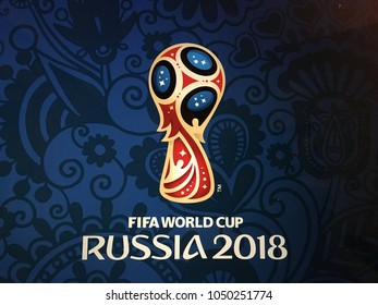 Istanbul, Turkey - March 15, 2018: Russia World Cup 2018 logo on screen.