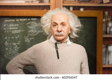 ISTANBUL, TURKEY - MARCH 16, 2017: Albert Einstein  wax figure at Madame Tussauds museum in Istanbul. Albert Einstein was a physicist who developed the general theory of relativity.