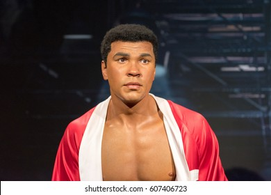 ISTANBUL, TURKEY - MARCH 16, 2017:  Muhammad Ali ( Cassius Clay ) wax figure at Madame Tussauds  museum in Istanbul. Muhammad Ali was an American professional boxer and activist.