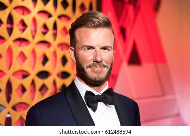 ISTANBUL, TURKEY - MARCH 16, 2017: David Beckham wax figure at Madame Tussauds  museum in Istanbul. David Beckham is an English former professional football player.