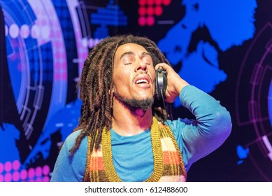 "ISTANBUL, TURKEY - MARCH 16, 2017: Robert Nesta ""Bob"" Marley wax figure at Madame Tussauds  museum in Istanbul. Bob Marley was a Jamaican singer, songwriter, musician and guitarist."
