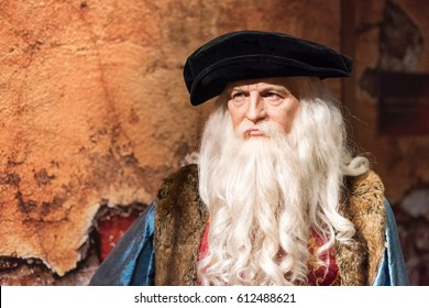 ISTANBUL, TURKEY - MARCH 16, 2017: Leonardo Da Vinci wax figure at Madame Tussauds  museum in Istanbul. Leonardo Da Vinci was an Italian polymath, true genius of the Renaissance period.