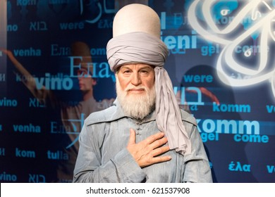ISTANBUL, TURKEY - MARCH 16, 2017: Mevlana Celaleddin  Rumi wax figure at Madame Tussauds  museum in Istanbul. Rumi was a 13th century Persian, sunni muslim poet,  Islamic scholar and theologian.