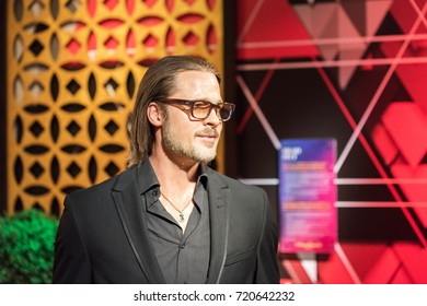 """ISTANBUL, TURKEY - MARCH 16, 2017: Brad Pitt wax figure at Madame Tussauds  museum in Istanbul. William Bradley """"Brad"""" Pitt is an American actor and producer,"""
