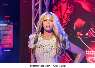 ISTANBUL, TURKEY - MARCH 16, 2017: Beyonce wax figure at Madame Tussauds  museum in Istanbul. Beyonce Giselle Knowles-Carter is an American singer, songwriter and actress.